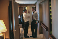 President George W. Bush and Chief of Staff Andy Card have a discussion aboard Air Force One Tuesday, Sept. 11, 2001, after departure from Offutt Air Force Base.