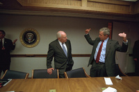 President George W. Bush talks with Vice President Dick Cheney in the President's Emergency Operations Center after returning to the White House, Tuesday, Sept. 11, 2001.