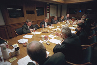 After addressing the nation about the terrorist attack on America, President George W. Bush meets with his National Security Council in the Presidential Emergency Operations Center of the White House Tuesday, Sept. 11, 2001.