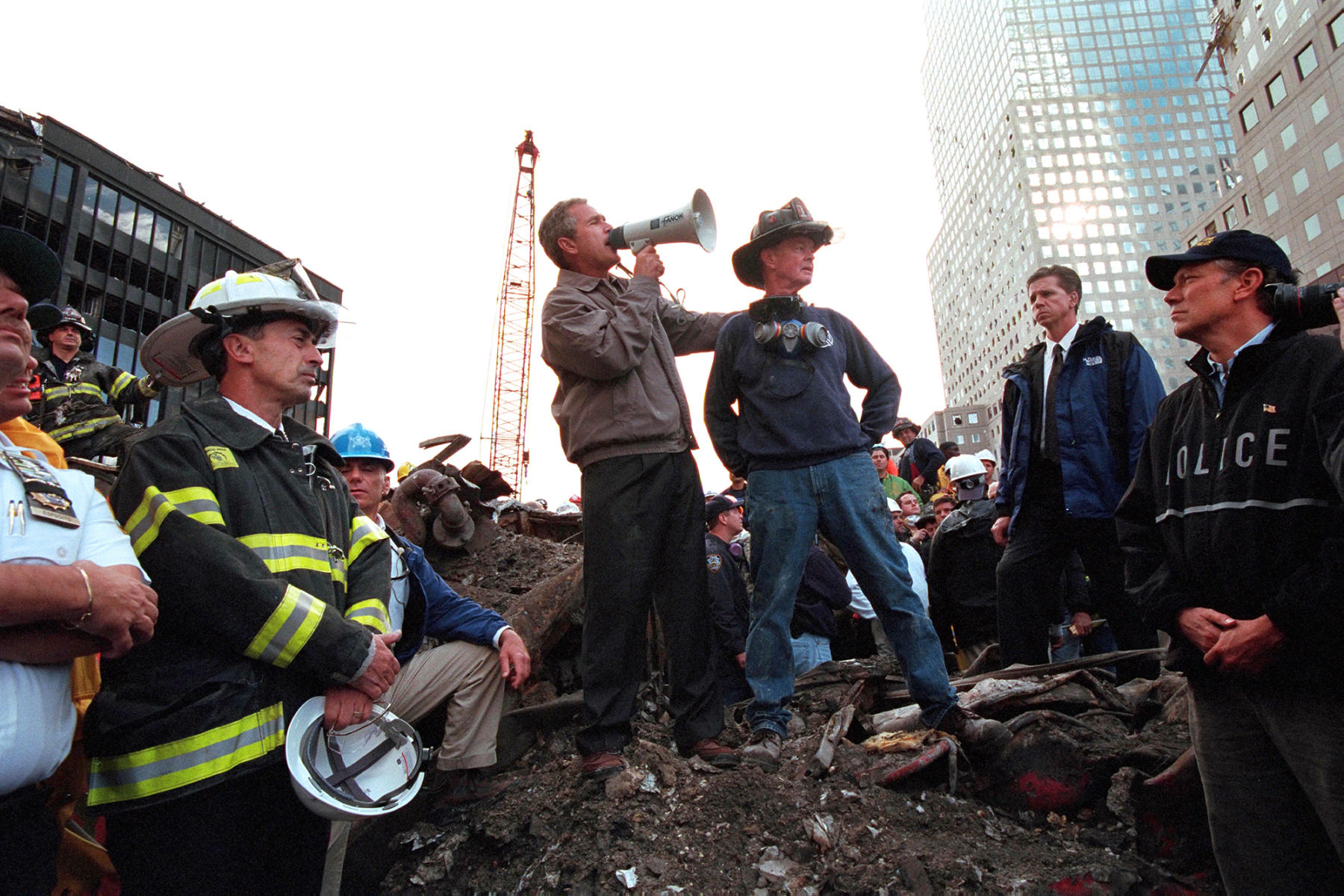Ground Zero, New York City. Sept. 14, 2001 : President George W. Bush : Welcome to Eric Draper Photography -  Commercial, Editorial, Weddings