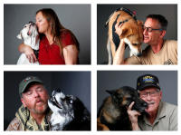 Veterans with their service dogs for Paws and Stripes