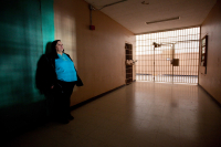 Cathy Catamach photographed inside the former New Mexico  state prison where she worked in 1980 when inmates took over several cellblocks and the prison control center.