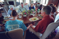 A prayer before the family brunch on Easter Sunday in Crawford, Texas 2001.